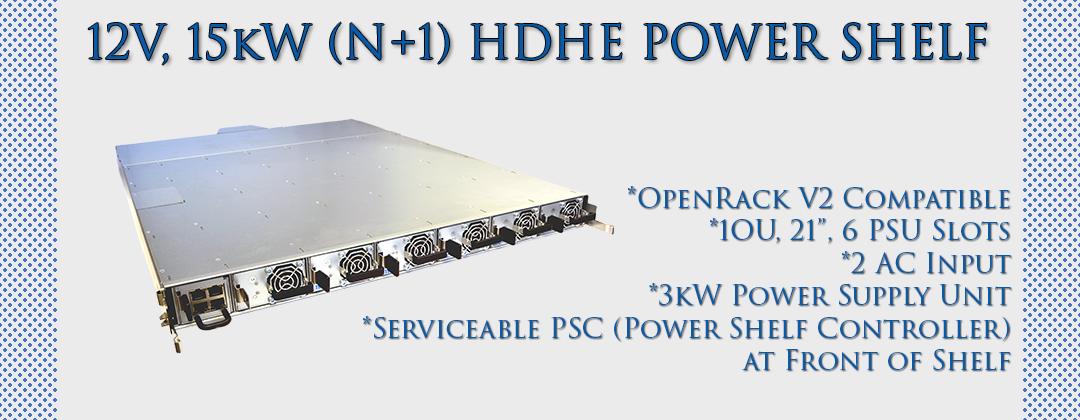 12V, 15kW (N+1) HDHE Power Shelf