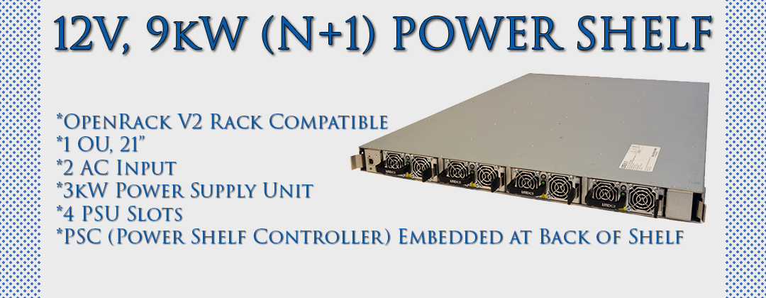 12V, 9kW (N+1) Power Shelf
