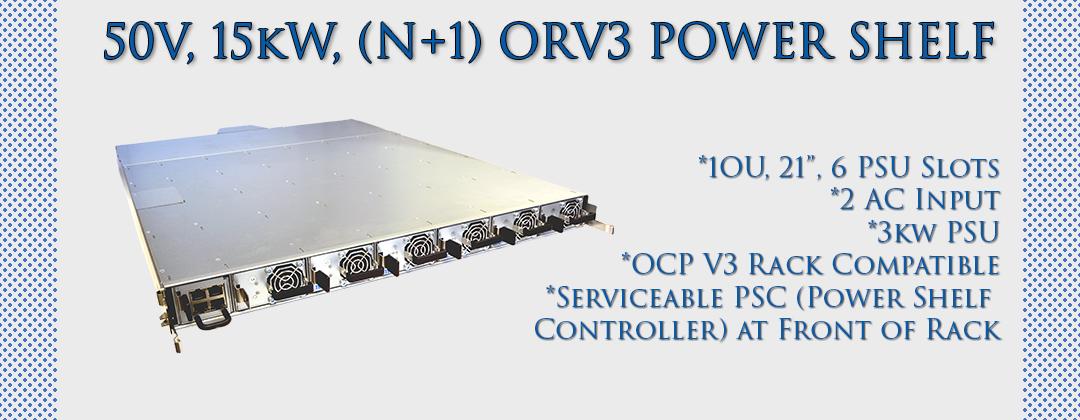 50V, 15kW, ORV3 Power Shelf